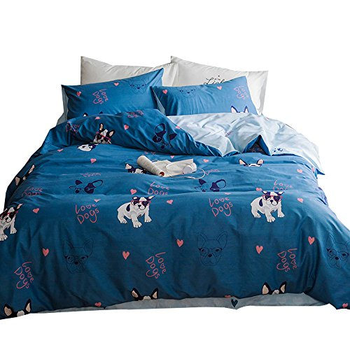 OTOB New Cartoon Puppy Dog Full Queen Cute Duvet Cover Sets for Boys Blue 100% Cotton Lightweight Comfortable 3 Pieces Kids Girls Bedding Duvet Cover with Pillowcases Zipper Child Bedding Sets