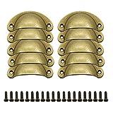 GZGXKJ 10 Piezas 81 * 35mm Pomos Vintage Puerta Retro Hierro Muebles Cocina Armario Cajón Tire Tiradores y Pomos Bronce con Forma de Carcasa para Puertas de Cajones