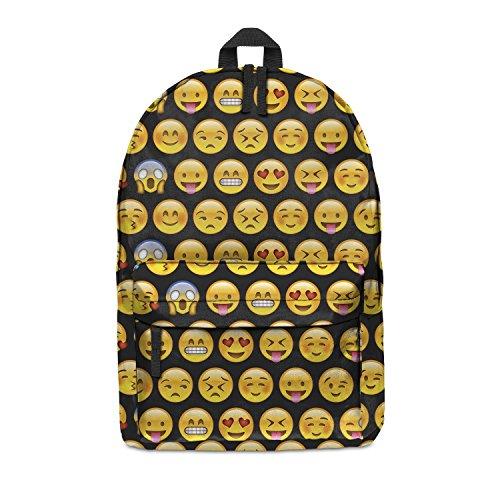 Fringoo zaino unisex, completamente stampato, per scuola, viaggio, palestra multicolore Emoji Black H42 x L31 x W21 cm