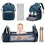 3 in 1 Diaper Bag Backpack Travel Bassinet Portable Baby Bed, Baby Diaper Bag with Changing Station, Foldable Baby Crib with Changing Pad (Blue)