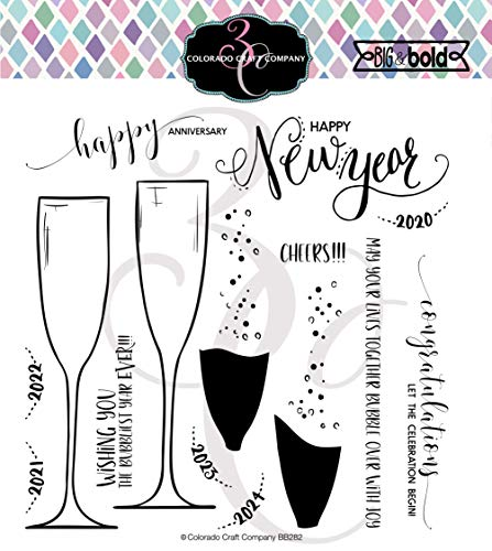 COLORADO CRAFT COMPANY Colorado Clear Stamp, Champagne Celebrations-Big & Bold