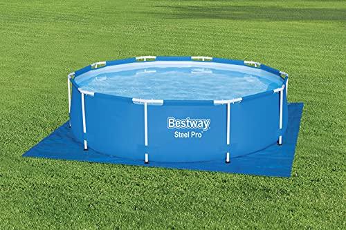 BESTWAY 58001 - Tapiz de Suelo para Piscina 335x335 cm de PVC Resistente Forma Cuadrada Para Piscinas Redondas de 305 cm de Diámetro Color Azul Fácil Instalación