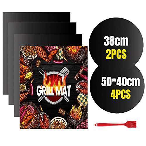 VLVEE Tappetino da Barbecue, BBQ Griglia Tappetini Set di 6 Mat Cottura BBQ Antiaderente Resistenti a Temperatura Alta Adatti per Griglia a Gas Carbone Forno e Griglia Elettrica