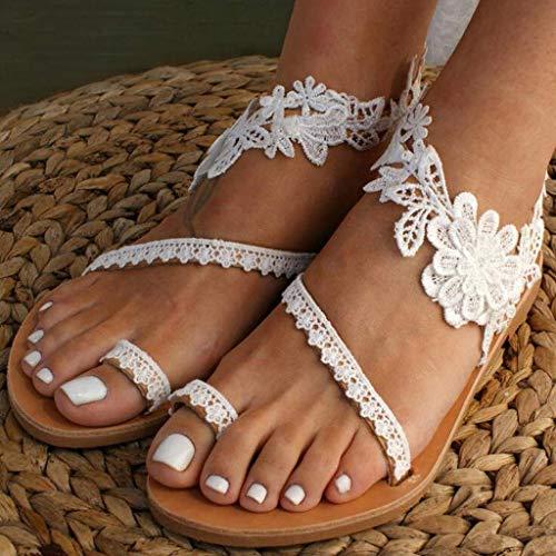 JFFFFWI Sandalias a la Moda para Mujer 2020 Sandalias Planas con Anillo Floral Deslizante para Mujer Sandalias Planas de Encaje para Mujer con Correa en el Tobillo Zapatos de Verano en la Playa Sand