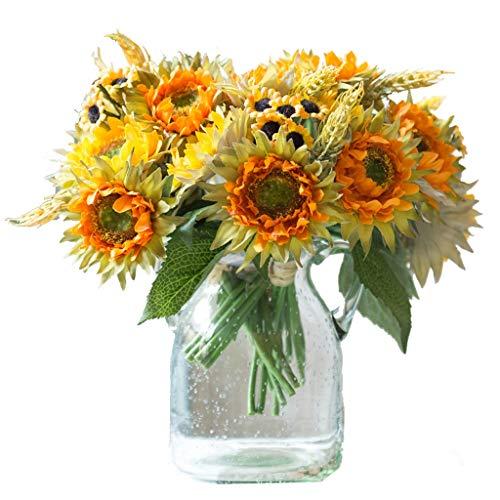 XXT Falso flor de girasol simulacion sala de estar TV gabinete hogar decoracion suave mesa de comedor arreglo floral