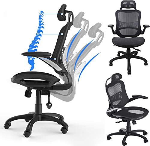 Komene - sedia da ufficio ergonomica con braccioli pieghevoli, poggiatesta regolabile in altezza, schienale in rete, sedia da scrivania girevole (nero, 19)