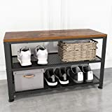 JOISCOPE Shoe Bench, 2-Tier Industrial Shoe Storage Rack with Seat for Small Spaces, Entryway, Foyer, Hallway(Vintage Oak Finish)