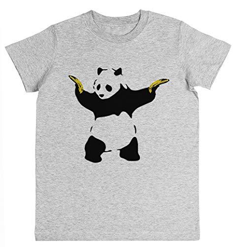 Schlecht Panda Schablone Unisex Kinder Jungen Mädchen T-Shirt Grau Größe XS Unisex Kids Boys Girls's T-Shirt Grey Size XS