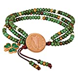 Irish Penny Multi Strand Bracelet |Leather and Czech Glass Beads | Genuine Coin | One Size Adjustable |Women's Fashion Jewelry