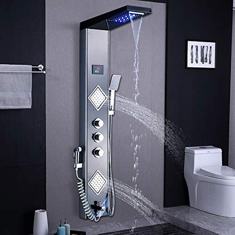 WG LED Nickel Schwarz Wasserhahn Mischer Ventil Dusche Wasserfall Duschkopf Regendusche Handbrause Badezimmer
