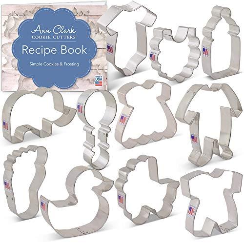 Ann Clark Cookie Cutters 11-Piece Baby Shower Cookie Cutter Set with Recipe Booklet, Onesie, Bib, Rattle, Bottle, Carriage, Foot, Footie PJs, Dress, Romper, Duck