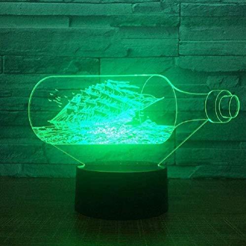 Nachtlicht Black Pearl Ship 3D Dekoration Nachtlicht Acryl LED Licht 7 Farbwechsel Nacht Spielzeug Kinder Weihnachten Gif