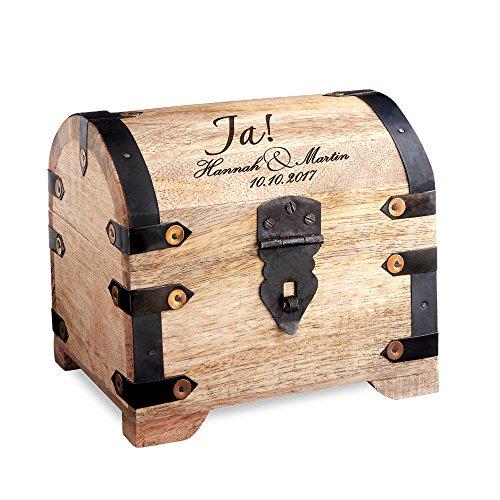 Casa Vivente Schatztruhe aus hellem Holz mit Gravur zur Hochzeit, Motiv Ja-Wort, Personalisiert mit Namen und Datum, Verpackung für Geldgeschenke