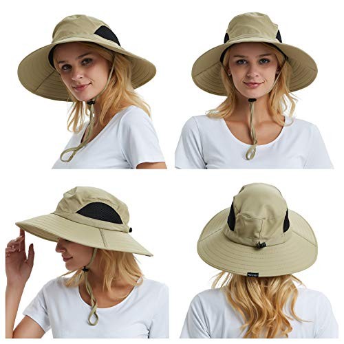 EINSKEY Wide Brim Sun Hat Summer UV Protection Beach Hat Showerproof Safari Boonie Hat Foldable Fishing Hat with Adjustable Chin Strap and Breathable Mesh Crown Khaki