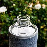 T&N Glasflasche Classique 1 Liter - Neoprenhülle Auslaufsicher - Mit GRATIS Glas Strohhalm zum Testen - Trinkflasche Wasserflasche Glas-Karaffe Wasserkaraffe - 100% BPA frei mit Bürste (Grau) - 7