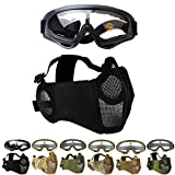 Outgeek Airsoft Mask, Lower Steel Mesh Mask Protective Half Face Mask UV Protection Glasses Comfortable and Cool Mask Goggles Set for Adult Men Women Children (Black-Type B)