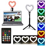 Heart Shaped Ring Light for Laptop,Zoom Lighting for Computer,Video Conference Lighting Kit with Tripod and Clip(RGB)