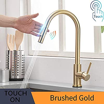 FUZMONOERE Touch On Kitchen Faucets with Pull Down Sprayer Dual Function Single Handle One Hole Fingerprint Resistant Kitchen Faucet,Brushed Gold
