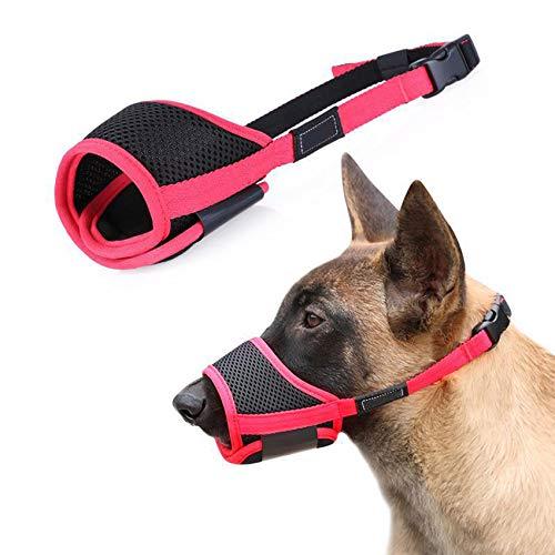 Elehui Bozal para perros con red de nailon, correa ajustable, para perros pequeños, medianos y grandes, evita que muerdan los ladridos, entrenamiento de comportamiento (L)