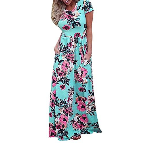 URIBAKY - Vestido para mujer, diseño de flores, manga corta, manga corta, vestido largo con bolsillos, manga corta, vestido largo con bolsillos, manga corta, vestido largo con bolsillos verde L