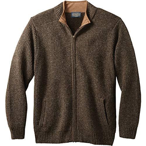 Pendleton Men's Shetland Cardigan Sweater, Dark Brown Mix, XL