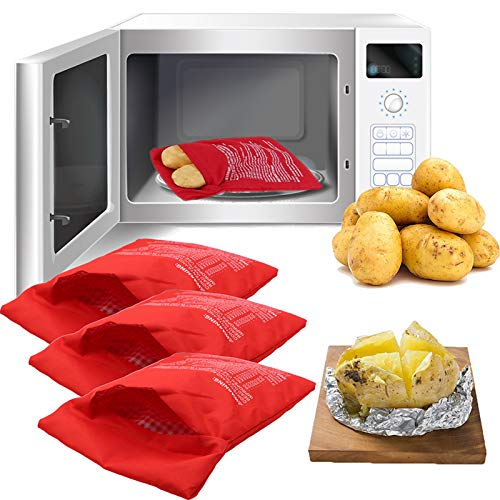 Microwave Potato Bag, 3 Pack Reusable Express Microwave Potato Cooker Bag, Baked Potato Cooker Perfect Potatoes 4 Minutes - Red Baked Pouch