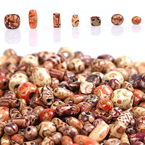 500pz Perle Legno Perline per Capelli con Corda 9 Forme Perline di Legno Stampato Varie Forme Perline di Legno Sciolto per Gioielli Fare DIY Collana Braccialetti Capelli Mestieri Bigiotteria