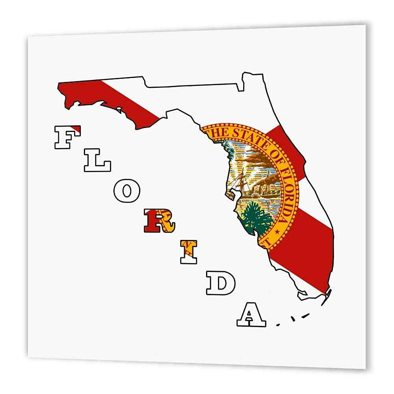 3dRose ht_58729_1 Florida State Flag in The Outline Map and Letters of Florida-Iron on Heat Transfer Paper for White Material, 8 by 8-Inch
