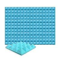 12ピースセット250 x 250 x 50 mm ピラミッド 吸音材 防音 吸音材質ポリウレタン SD1034 (ライトブルー)