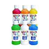 Colorations Simply Washable Tempera Paints, 8 fl oz, Set of 6 Colors, Non Toxic, Vibrant, Bold, Kids Paint, Craft,...