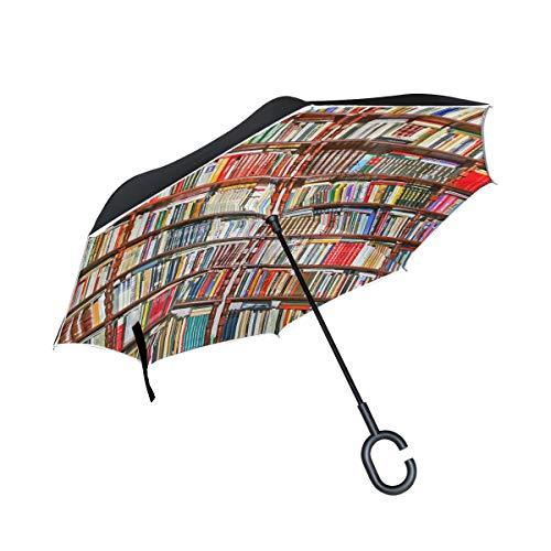 DEZIRO Boeken Plank Patroon Omgekeerde Vouwparaplu?Auto Open UV Bescherming Zelfstandaard met C-vormig Handvat