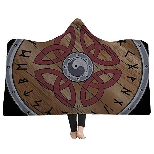 EVEYYWYPersonalidad Capa 3D Manta con Capucha Manta Tribal Viking Throw Manta CreativaMantas con Capucha para Adultos Manta cálida para niños Capa con Capucha Capa Suave-L (150cm * 200cm)