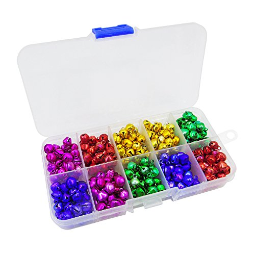 Grosun 300pcs Colored Jingle Bells Small Bell Mini Bells Bulk with Clear Box for Halloween Christmas Wedding Decoration