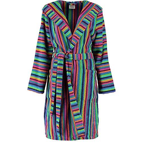 Michaelax-Fashion-Trade Cawö - Damen Walkfrottier Bademantel mit Kapuze in Kurzform (7049), Größe:32/34, Farbe:Multicolor (84)