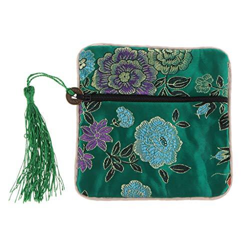 FLAMEER Guzheng Nagel Beutel Tasche für Schmuck, Münzen, Würfel und andere Kleinigkeiten geeignet - Grün