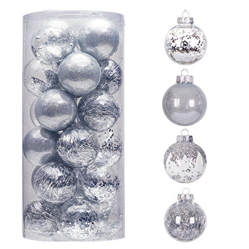 24ct 70mm/2.76' Clear Christmas Ball Ornaments, Shatterproof Plastic Christmas Tree Ornaments Baubles with Stuffed Decorations, Hanging Balls for Xmas and New Year Holiday Home Party Decor, Silver
