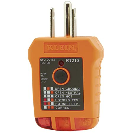 Klein Tools RT210 Outlet Tester, Receptacle Tester for GFCI / Standard North American AC Electrical Outlets, Detects Common Wiring Problems