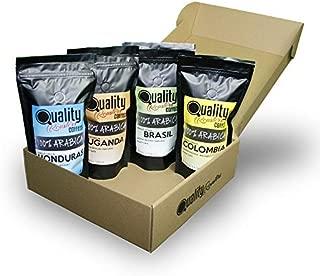 ☕ Café en grano natural. 100% Arabica. Pack para regalo y degustación. 4 orígenes: Colombia, Uganda, Brasil, Honduras. 4x250g. Tostado artesanal.