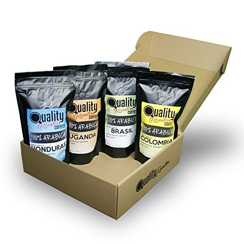 Café en grano natural. 100% Arabica. Pack para regalo y degustación. 4 orígenes: Colombia, Uganda, Brasil, Honduras. 4x250g. Tostado artesanal.