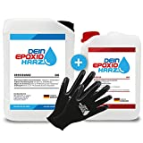 Longfair Chemicals - Resina Epoxi con Endurecedor + Guantes de Protección, Transparente, 10.2 kg, incluyendo instrucciones en español
