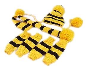 Fully 3pcs/Kit Bonnet en tricot pour animal écharpe collier rigide Jambières Chausse Pom Pom Vêtements d'hiver chaud