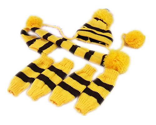 Fully 3er / Set écharpe tricotée Hiver Chaud + Bonnet + jambière pour Animaux domestiques Chiens (L, Jaune)