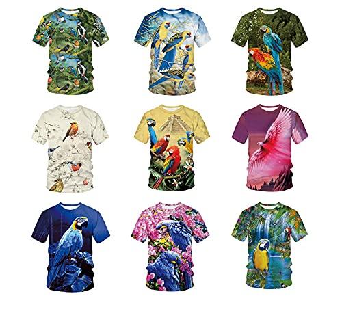 MTCDBD Hombre Camisetas,Unisex 3D Impreso Verano Casual Camisetas De Manga Corta Divertido Animal Pájaro Loro Camisetas Camisetas De Streetwear para Hombres, para Viajes Playa Correr Deportes