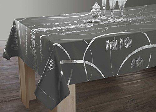 Le linge de Jules Nappe Shiny - Entretien Facile Gris foncé - Taille : Rectangle 150x200 cm