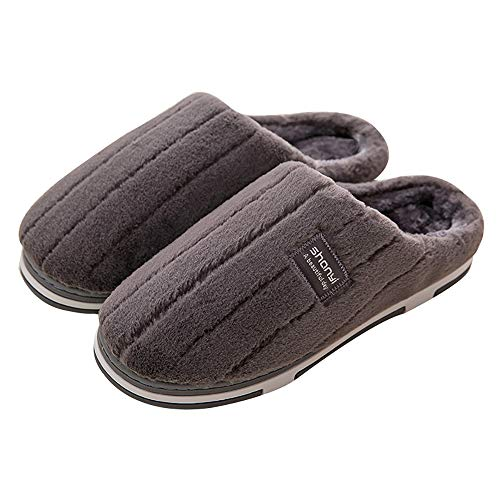 Alte Green Streifen Korallenheits-Pantoffeln | Women es Men es Soft Velvet Clog | Short Plush Lining Slip-On Indoor Outdoor Slippers | Memory Foam Anti Skid Rubber Sole,C,45/46