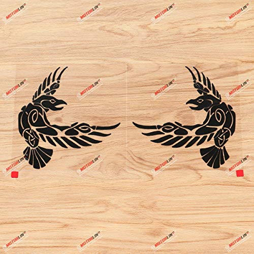 Odin Raven Decal Sticker Vinyl Viking Norse Nord Celtic Knot - Pair Black, 6 Inches - Mirror Images Revsered - for Car Boat Laptop 01291