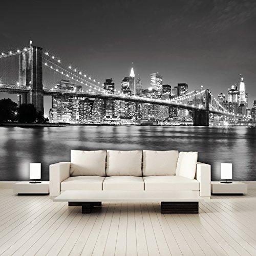 Fotomural Papel Pintado New York 366 x 254 cm Incluyendo Pegamento Fotomurales Manhattan Arquitectura Estados Unidos Ciudad USA Vista 3D Puente Brooklyn Bridge
