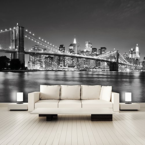 murimage Photo Wallpaper New York 3D 366 x 254 cm Including Paste Wall Mural incl. Glue Paste Manhattan Skyline City USA black and white Brooklyn Bridge Nighttime