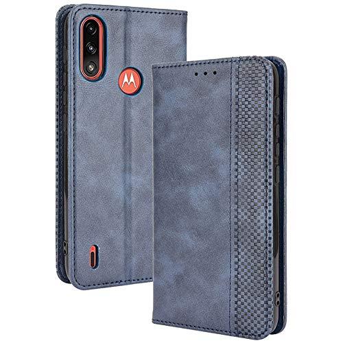 ALAMO Retro Klapp Hülle für Motorola Moto E7 Power / E7i Power, Premium PU Leder Handyhülle mit Kartenfächer & Geldbeutel - Blau
