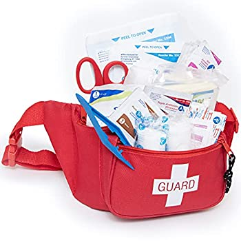 Primacare KB-8005 First Aid Fanny Pack Stocked with 75 Pieces Emergency Medical Supplies Lifeguard Waist Travel Bag with 3 Pockets Red 8x2x6 inches